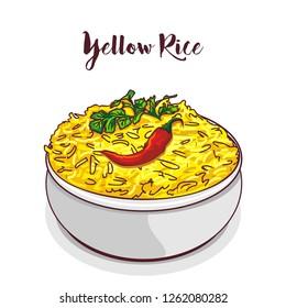 Yellow Rice vector illustration.