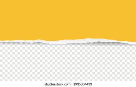 Yellow Ripped Paper Isolated Transparent Background, Vector Illustration