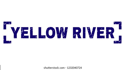 YELLOW RIVER caption seal stamp with corroded style. Text caption is placed inside corners. Blue vector rubber print of YELLOW RIVER with corroded texture.