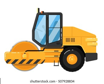 Yellow road roller isolated on white background. Road construction machine in flat design. Steamroller truck building equipment. Realistic vector road roller. Detailed roller road or steam roller icon