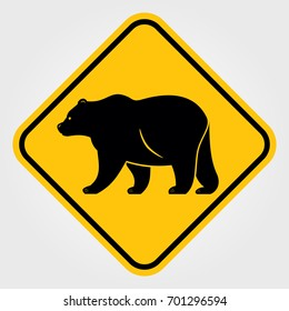 Yellow Road sign - Attention Animal, Bear.