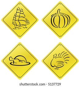 Yellow Road Sign Design Set