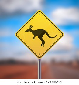 Yellow road sign with kangaroo icon on blurred background vector illustration