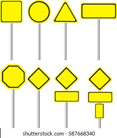 Yellow Road Signs on white background