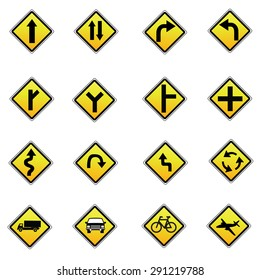 yellow road signs, traffic vector set on white background