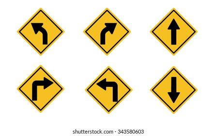 A yellow road warning sign