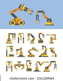 Yellow robotic arms flat vector illustrations set. Automated machinery. Modern technology. Mechanic manipulators isolated cliparts color pack on white and blue background. Factory elements collection