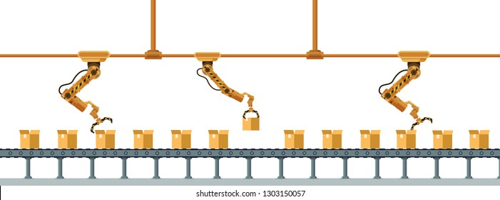 Yellow Robotic Claw Long Packing Box Conveyor. Mechanical Arm Crane Manufacture Technology. Industrial Robot Working at Warehouse Service. Storage Business. Flat Cartoon Vector Illustration
