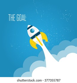 yellow rocket flying up from clouds on blue background reaching goal