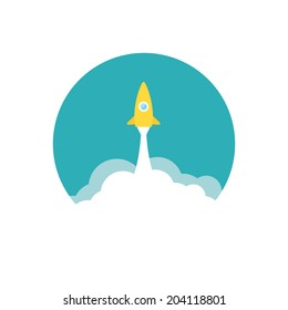 Yellow rocket and white cloud, circle icon in flat style, conceptual of start up new business project, take off of a business or project or extraterrestrial travel vector illustration