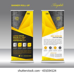 Yellow Roll up banner stand template, flyer design, polygon background, advertisement, display layout