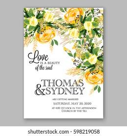 Yellow rose Floral Wedding Invitation Printable Gold Bridal Shower Invitation Suite Boho Flower wreath