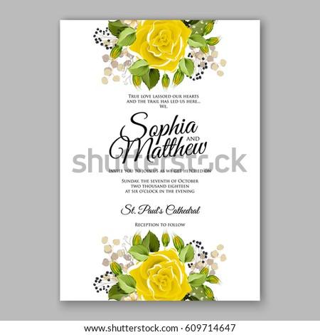 Yellow Rose Floral Wedding Invitation Printable Stock Vector