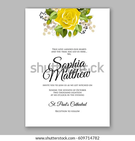 yellow rose floral wedding invitation printable gold bridal shower invitation suite boho flower wreath