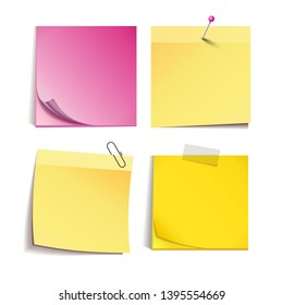 Yellow and rose stick note isolated on white background, vector illustration