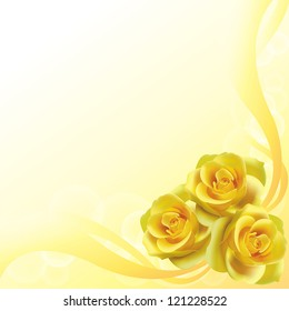 Yellow roses flower background pattern layout for love, wedding and valentine festival and can be use for invitation card, create by vector