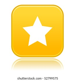 Yellow rounded matted squares button with star with color reflection on white
