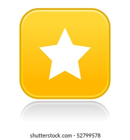 Yellow rounded matted squares button with star with gray reflection on white