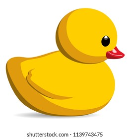 Yellow Rubber Duck Kids Toy Isolated Vector Illustration