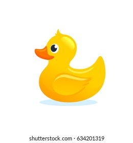 Yellow Rubber Duck Vector Illustration Cartoon.