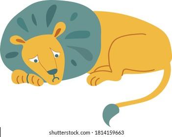 yellow sad lion lies. a lone animal thinks. vector cute flat illustration