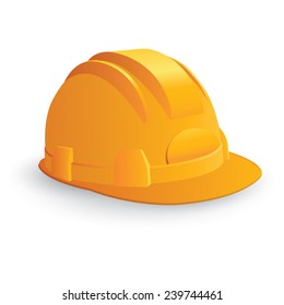 Yellow safety hard hat isolated on white. Vector illustration
