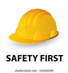 Yellow safety hard hat. Vector illustration