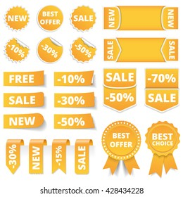 Yellow sale banners, labels, stickers, tags, vector eps10 illustration