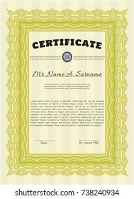 Yellow Sample certificate or diploma. With complex linear background. Customizable, Easy to edit and change colors. Nice design.