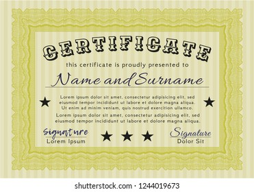 Yellow Sample Diploma. With complex background. Vector illustration. Sophisticated design.
