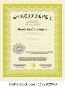 Yellow Sample Diploma. With great quality guilloche pattern. Customizable, Easy to edit and change colors. Artistry design.
