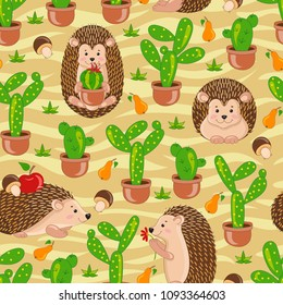 Yellow sand desert seamless pattern with cute cartoon hedgehogs, apple, pears, mushrooms, cacti, cactus. Vector hedgehog tile background for your design, fabric textile, wallpaper or wrapping paper.