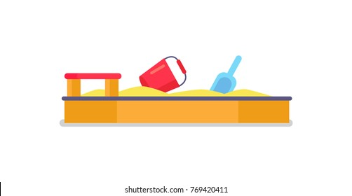 Yellow sandbox with sand, red wooden seat, red bucket and blue shovel vector illustration isolated on white background, childrens playground element