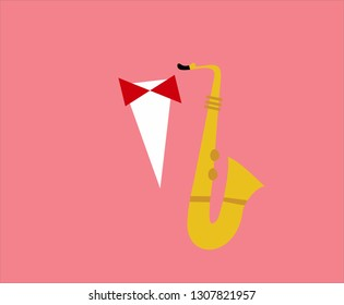 yellow saxofon with an red bowtie on white  shirt with pink background