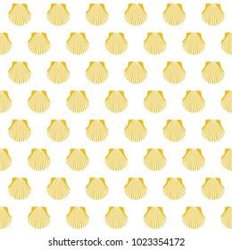 Yellow scallop shell. Camino Santiago sign. Seamless pattern. Pilgrims navigation sign. Symbol of the Camino de Santiago in Spain.