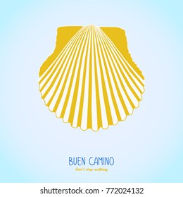 Yellow scallop shell. Symbol of the Camino de Santiago in Spain. Buen Camino! Don't stop walking. Poster or flyer. White background. Pilgrim's navigation sign.