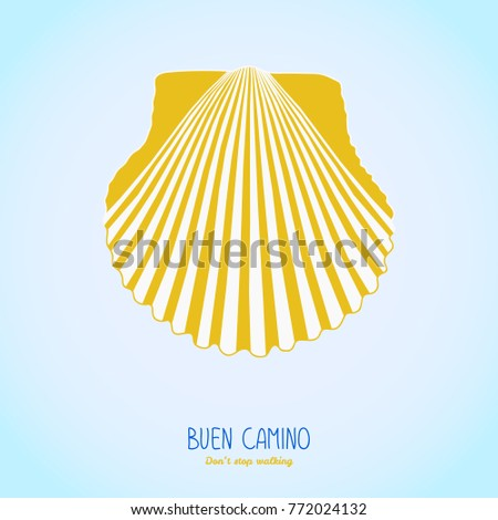 Yellow Scallop Shell Symbol Camino De Stock Vector Royalty Free