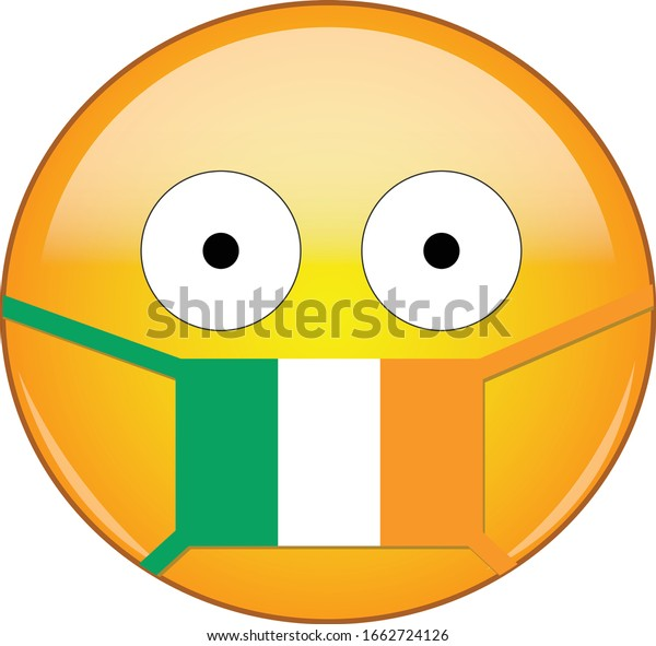 Yellow Scared Emoji Irish Medical Mask Stock Vector Royalty Free 1662724126