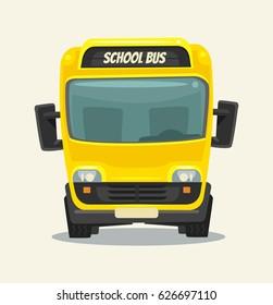 Yellow school bus. Back to school. Front view. Vector flat cartoon illustration