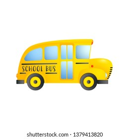 Yellow school bus. Cartoon transport with windows. Can be used for topics like transportation, school, bus station