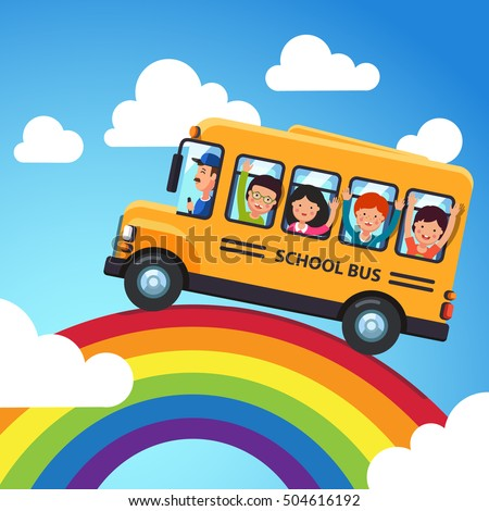 vetor stock de yellow school bus driver kids riding livre de