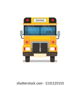 yellow school bus front view pupils transport concept on white background flat horizontal vector illustration