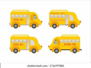 Yellow school bus icon set