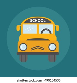 Yellow School Bus Illustration, back to school concept