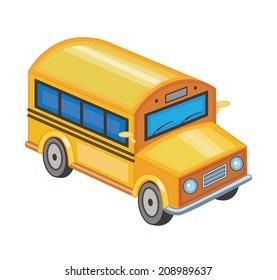 yellow school bus isolated on white (vector illustration)