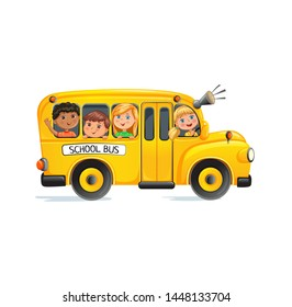 Yellow school bus with kids on road.