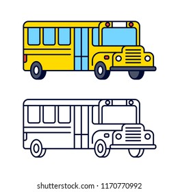 Yellow school bus line icon, color and black and white. Isolated clip art vector illustration in flat cartoon style.