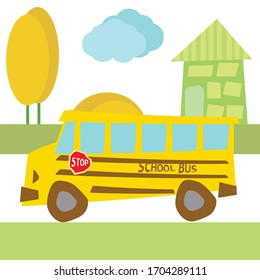 Yellow school bus rides through the city. There is a school bus sign and a stop sign.