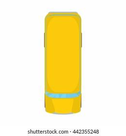 Yellow school bus top view icon. Cartoon illustration of school bus top view vector icon isolated on white background