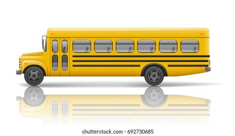 Yellow school bus. Transportation and vehicle transport, travel automobile. Relistic school bus mockup. Vector illustration